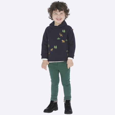 Pantalon lung canvas baiaeti, verde, Mayoral0