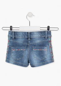 Pantalon scurt fete, denim, broderie etnic, Losan [1]