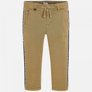 Pantaloni bej cu benzi lateral0
