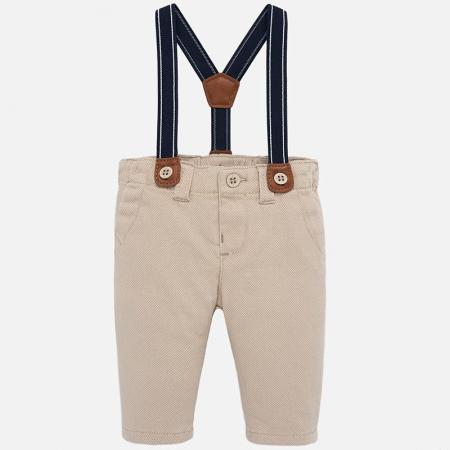 Pantaloni captusiti cu bretele bebe baiat, bej0