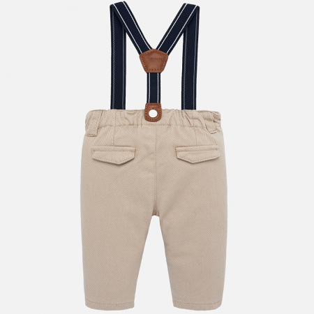 Pantaloni captusiti cu bretele bebe baiat, bej1