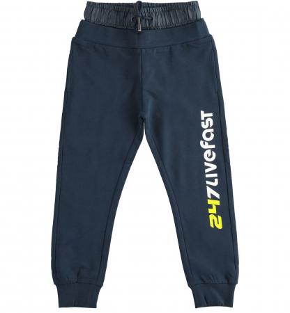 Pantaloni sport baiat, talie joasa, navy, iDO0