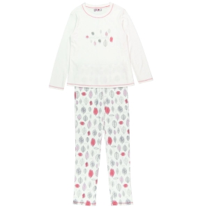 Pijama fete bumbac imprimeu frunze Boboli0