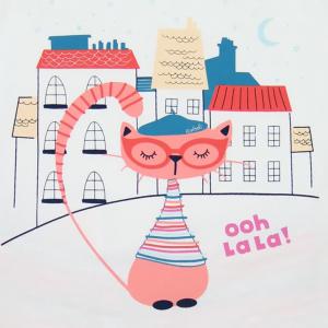Pijama fete cu bretele , imprimeu pisicuta, Boboli3