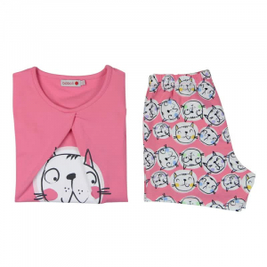 Pijama fete vara, imprimeu pisicute, Boboli1