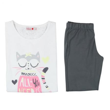 Pijama maneca scurta fete, Boboli, imprimeu pisica1