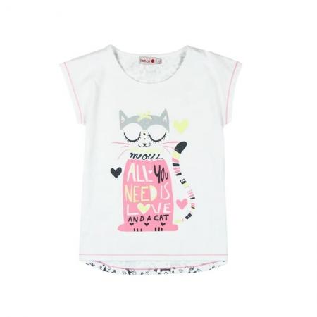 Pijama maneca scurta fete, Boboli, imprimeu pisica0
