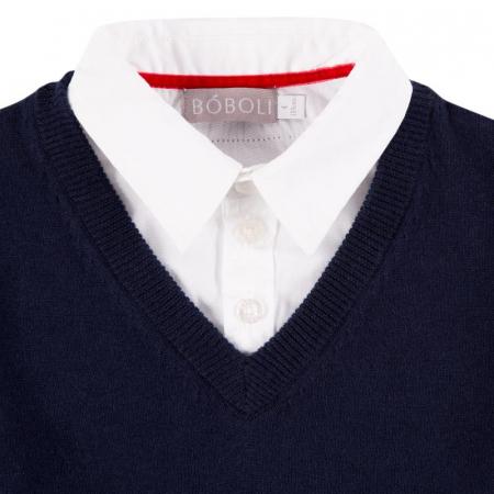 Pulover baiat, aspect dublu , bleumarin cu dungi gri3