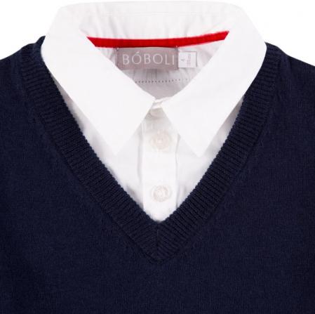 Pulover baiat, aspect dublu , bleumarin cu dungi gri2