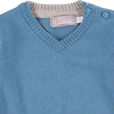 Pulover tricot baiat in V, blue, Boboli2