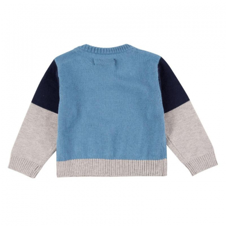 Pulover tricot baiat in V, blue, Boboli1