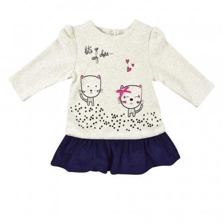 Rochie bumbac+dres, imprimeu pisicute, Babybol0
