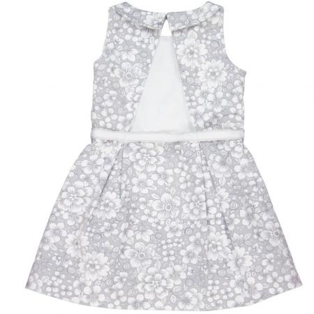 Rochie eleganta cu spate gol, imprimeu flori,gri, Boboli1