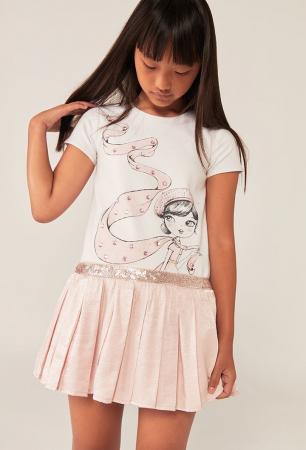 Rochie eleganta , imprimeu fetita, paiete, roz, Boboli0