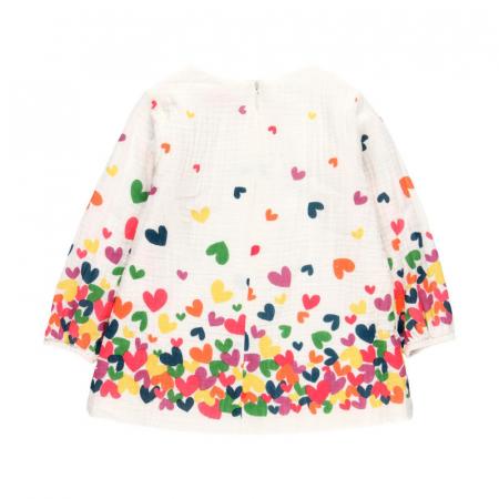 Rochie fete panza topita, imprimeu inimioare multicolor,Boboli1