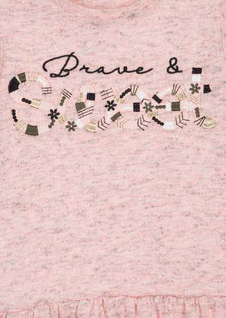 Rochie maneca lunga broderie fata, roz2