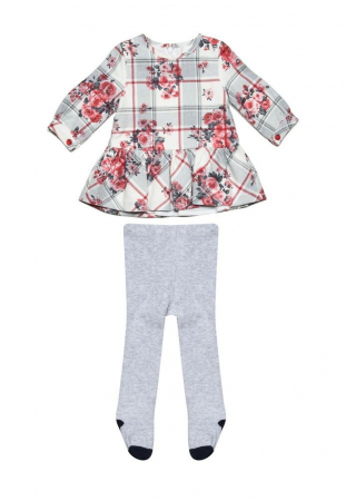 Rochie stofa cu imprimeu floral si dres asortat,  Babybol1