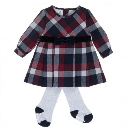 Rochie stofa fetite cu dres asortat, Babybol [0]