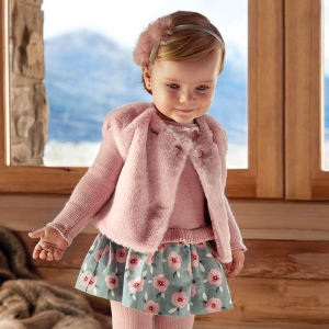 Rochie tricot combinat fetita Mayoral2