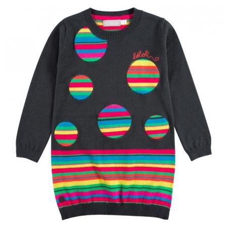 Rochie tricot cu buline multicolor, gri, Boboli [0]