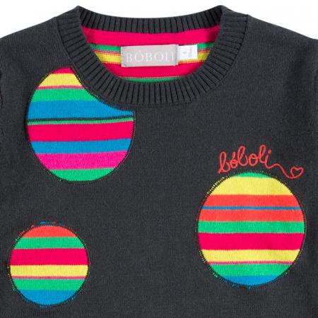 Rochie tricot cu buline multicolor, gri, Boboli [2]
