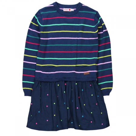 Rochie tricot cu fusta vascoza, navy, Boboli0