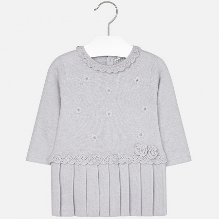 Rochie tricotata cu fusta plisee, gri, Mayoral0