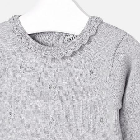Rochie tricotata cu fusta plisee, gri, Mayoral2