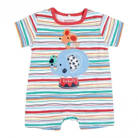 Salopeta bebe baiat,multicolor, aplicatie elefant,Boboli0