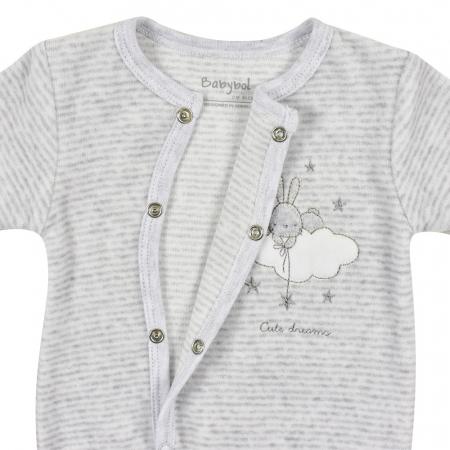 Salopeta bebe catifea Babybol, gri, broderie iepuras2