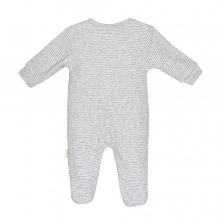 Salopeta bebe catifea Babybol, gri, broderie iepuras1