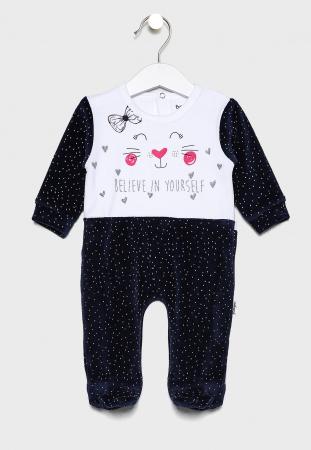 Salopeta bebe fetita catifea, imprimeu pisicuta, navy, Babybol0