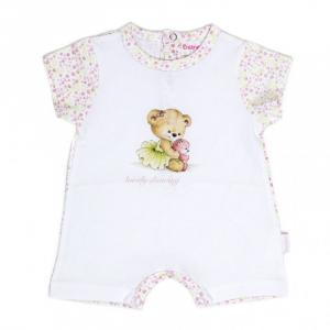 Salopeta fetita maneca scurta, imprimeu flori roz pastel, Babybol0