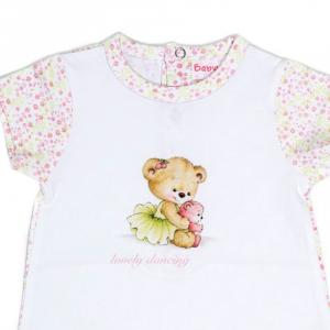 Salopeta fetita maneca scurta, imprimeu flori roz pastel, Babybol1