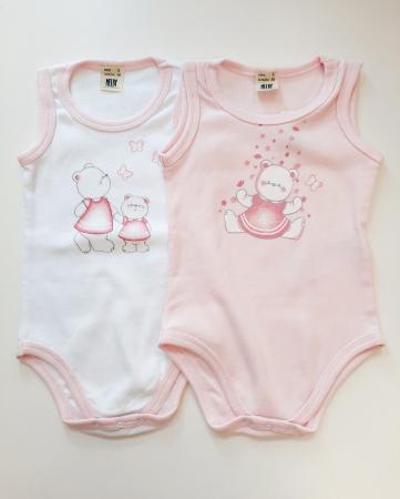 Set 2 body maieu fete, roz/alb, Melby0