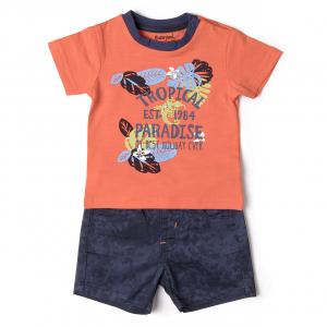 "Set 2 piese baiat tricou orange si pantalon scurt, ""tropical paradise"" , Babybol0"
