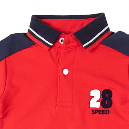 Set 2 piese baiat, tricou polo rosu si blugi strech denim, Babybol1