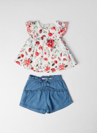 Set 2 piese vara fete, bluza imprimeu floral si jeans scurt , Babybol [0]
