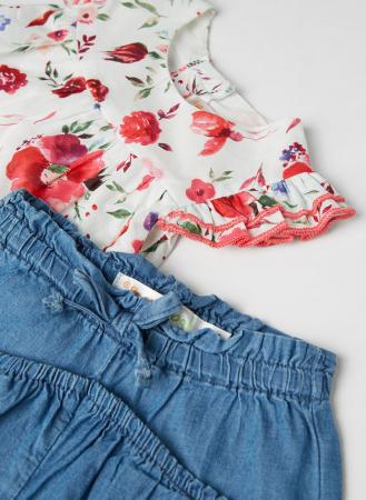 Set 2 piese vara fete, bluza imprimeu floral si jeans scurt , Babybol [2]
