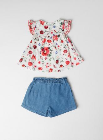 Set 2 piese vara fete, bluza imprimeu floral si jeans scurt , Babybol [1]