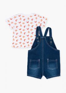 Set bebe baiat salopeta jeans strech cu tricou imprimeu raci, Losan1