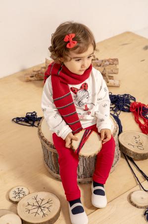 Set fetite bluza alba cu colant rosu, Babybol [0]