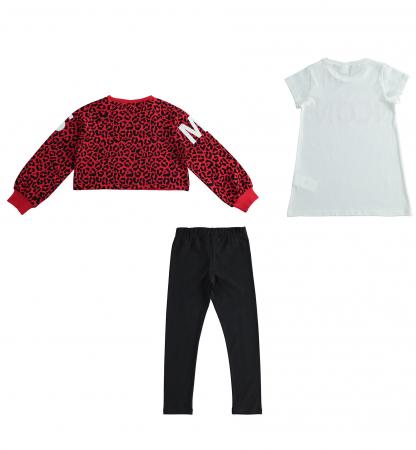 Set sport 3 piese, bluza , tricou maneca scurta si colant negru, iDO [1]