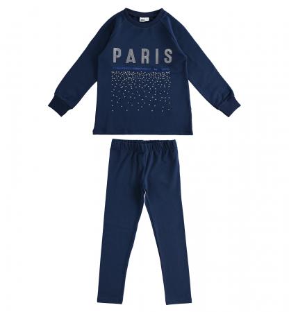 Set tricou maneca lunga si colant, imprimeu text PARIS, navy, iDO0