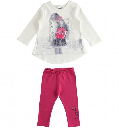 Set tricou maneca lunga si colant roz, iDO0