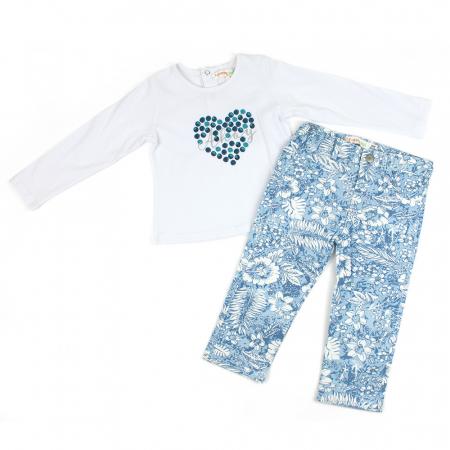 Set tricou maneca lunga si pantaloni imprimeu floral bleu, Babybol0