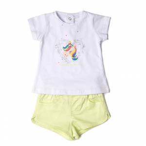 Set vara fete , tricou imprimeu unicorn si pantalon scurt , Babybol0