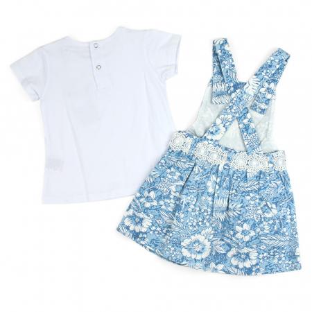 Set vara fete , tricou si sarafan, imprimeu floral, blue1