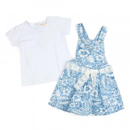 Set vara fete , tricou si sarafan, imprimeu floral, blue0