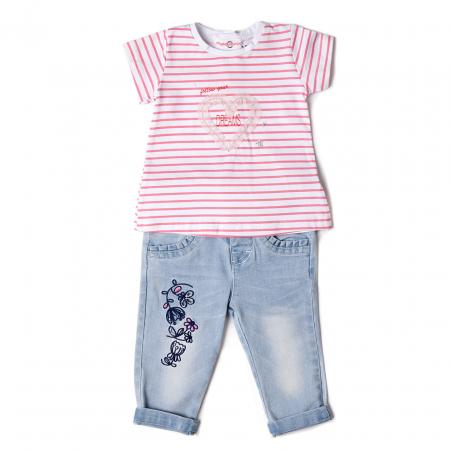 Set vara fetite tricou cu blugi light blue, Babybol [0]